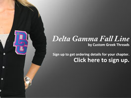 Custom Greek Threads Delta Gamma Landing Page Design